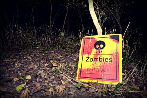 Zombies Ahead Warning Sign